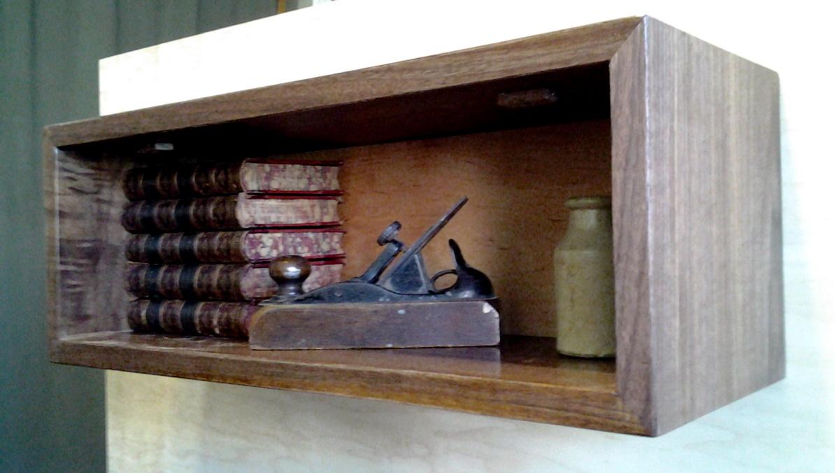 walnut floating wall box bookcase. Black Bedroom Furniture Sets. Home Design Ideas