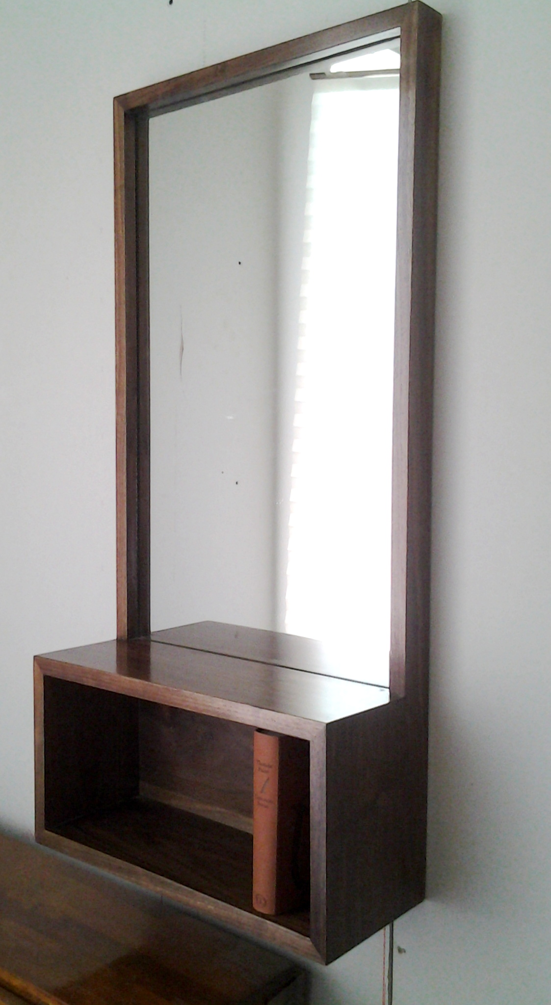 Famous Walnut Entry Hall Mirror with Shelf | HO23