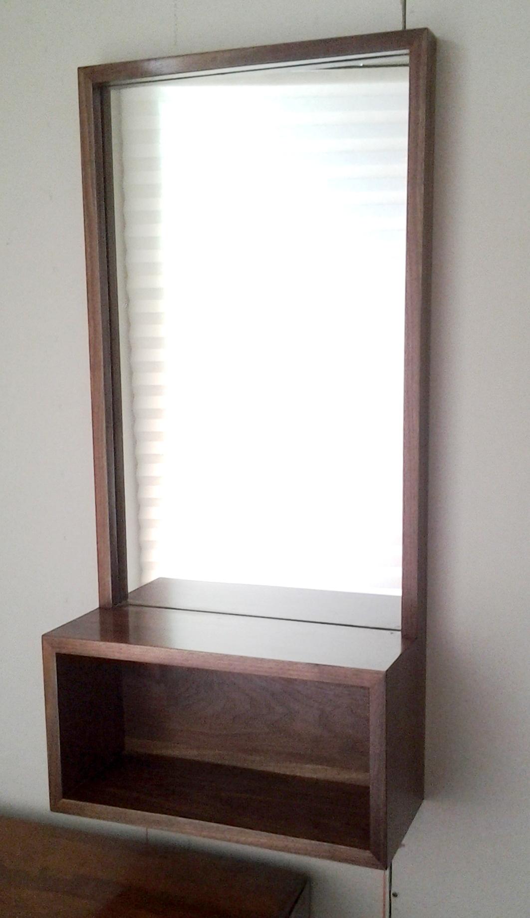 Very best Walnut Entry Hall Mirror with Shelf | CQ43