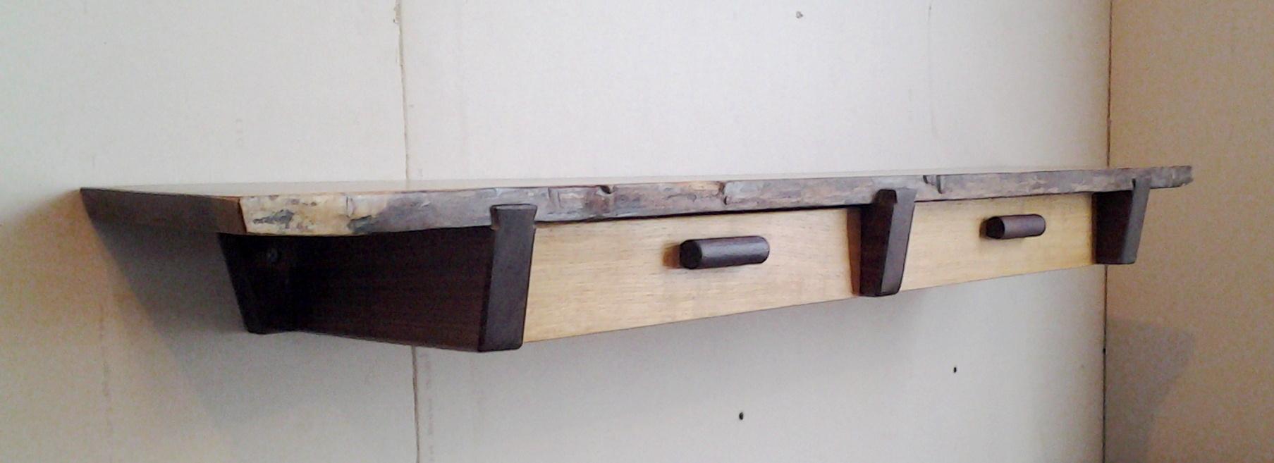 Walnut And Oak Live Edge Shelf With Two Drawers