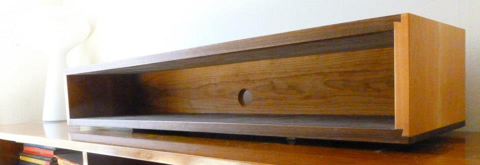 Walnut And Cherry Dovetail Floating Wall Box Console Shelf Mid Century Style