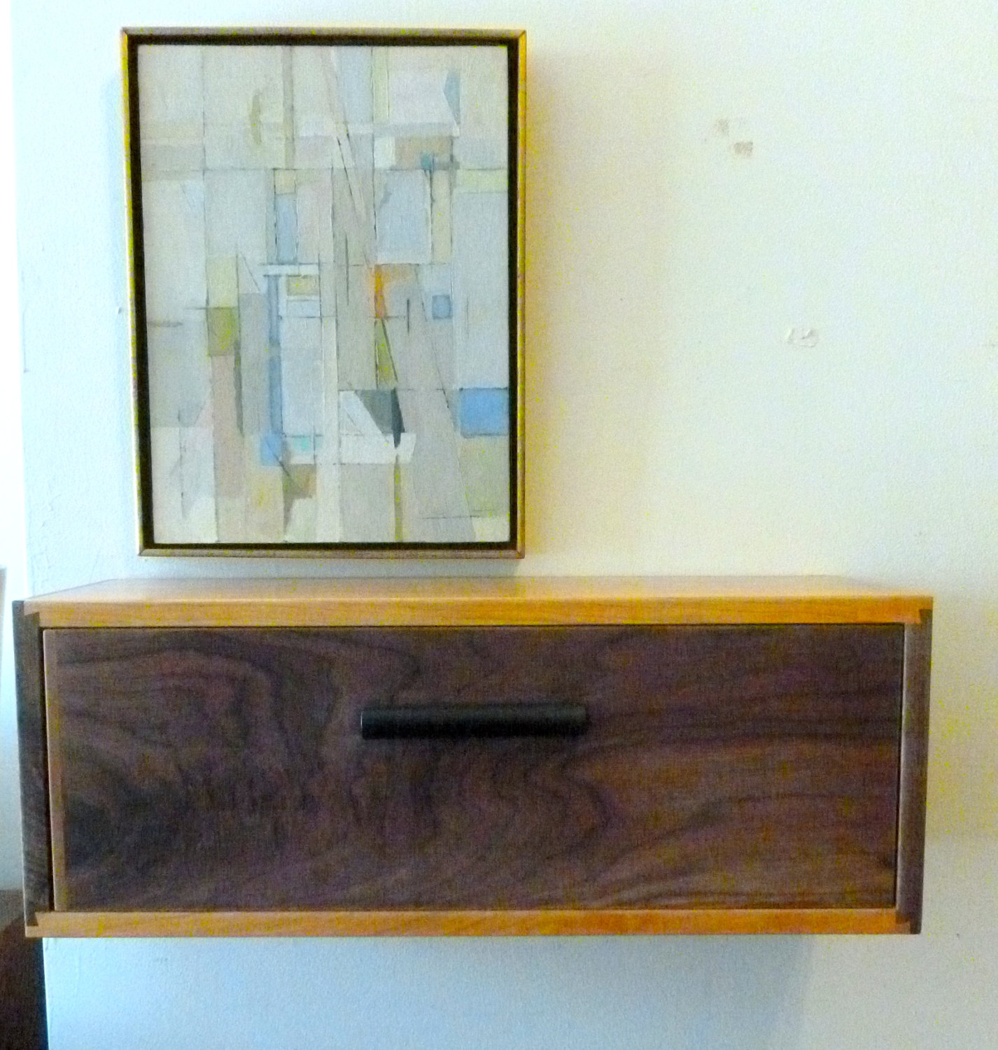 Cherry And Walnut Floating Wall Shelf Night Stand With Drawer
